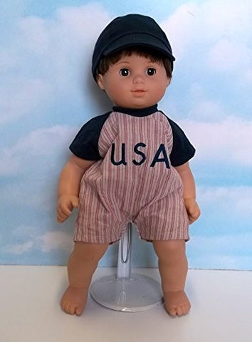 """Play Ball"" Romper in Blue. Fits 15"" Dolls like Bitty Baby and Bitty Twin"