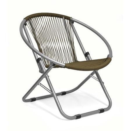 Garden Place Wicker Web Saucer Foldable, Durable, Comfortable, Stylish Chair, Brown- Perfect for patios and outdoor areas