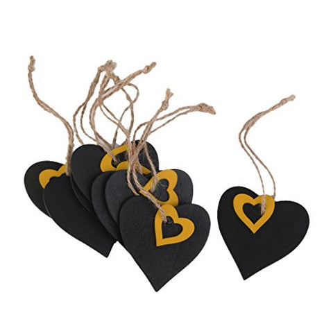 10pcs Mini Yellow Heart Chalkboard Tags with String