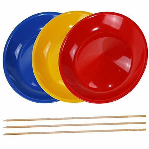 3 Spinning Plates / Juggling Plates with Wooden Sticks, Mixed Colours, Robust with Curved Base - SchwabMarken