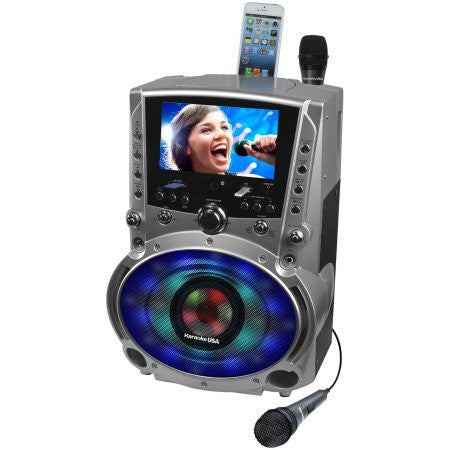 "20 Watts Karaoke USA DVD/CD+G/MP3+G Karaoke System with 7"" TFT Color Screen, Record, Bluetooth and LED Sync Lights"