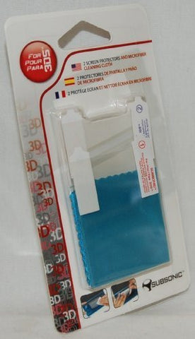 2 X NEW Subsonic Nintendo 3ds Screen Protectors + Cloth Pair Retail Packaging Us by Subsonic