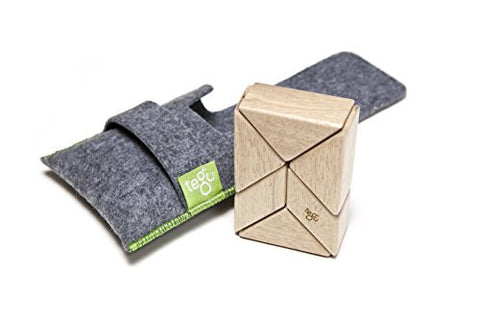 6 Piece Tegu Pocket Pouch Prism Magnetic Wooden Block Set, Natural