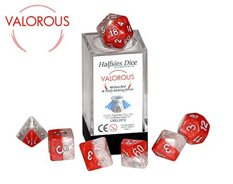 """Valorous"" Halfsies Dice - 7 die polyhedral rpg gaming dice set - Molten Red & Teeth-Kicking White"