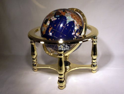 "10"" Tall Blue Lapis Ocean Table Top World Map Gemstone Globe with 4-leg Gold Stand"