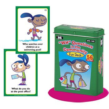 """WH"" Questions in the Community Fun Deck Cards - Super Duper Educational Learning Toy for Kids"