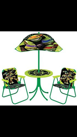 Teenage Mutant ninja turtles Patio Set Folding Chairs Umbrella Table Snack Indoor Outdoor picnic