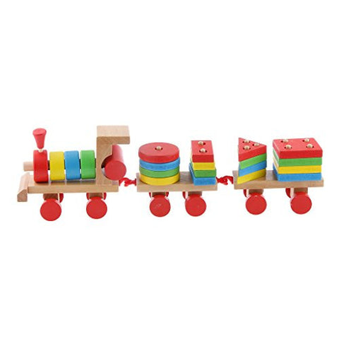 3 Carriages Wooden Train Multi Geometric Figures Kids Educational Toy Set