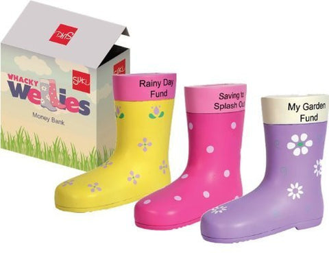 """My Garden Fund"" Purple Welly Boot Resin Money Box Bank Wellington"