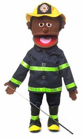 "25"" Fireman, Black Male, Full Body, Ventriloquist Style Puppet"