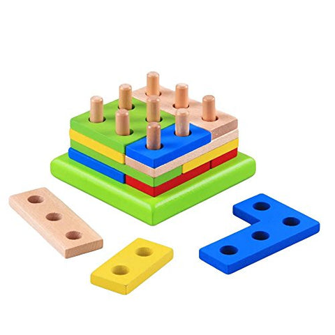 1 pc Montessori Geometry Match Intelligence Game Building Blocks Puzzle Toy Wooden Early Pre-School Learning Educational Toy