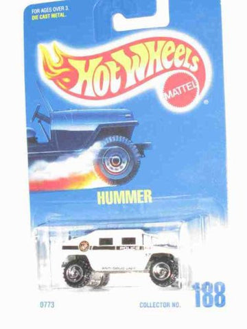 #188 Hummer White Police Tampos Unpainted Base Collectible Collector Car Mattel Hot Wheels 1:64 Scale