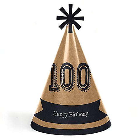 100th Milestone Birthday - Dashingly Aged to Perfection - Cone Happy Birthday Party Hats - Set of 8 (Adult Size)
