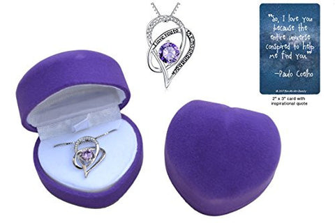 """I Love You to the Moon and Back"" .925 sterling silver heart necklace gift set with purple crystal in purple heart jewelry box with love quote card"