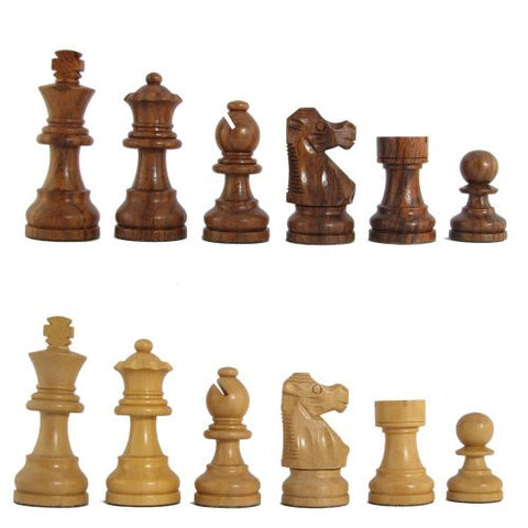 "3"" MoW Honey Rosewood Executive French Staunton Chess Pieces"
