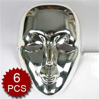 (Price/6 Pcs)GOGO Silver Mask In The Shape of Faceless Face
