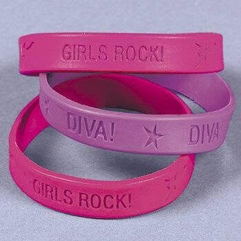 "12 ~ Girls Rock Diva Rubber Bracelets ~ Hot Pink and Purple ~ Approx. 8"" Circle ~ New / Sealed Package"