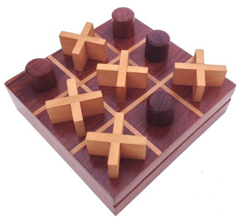 "#1 Tic Tac Toe - SouvNear 5.5"" Wooden Game with Rosewood Storage Travel Box Set - Handmade Quality Wood Family Board Game"