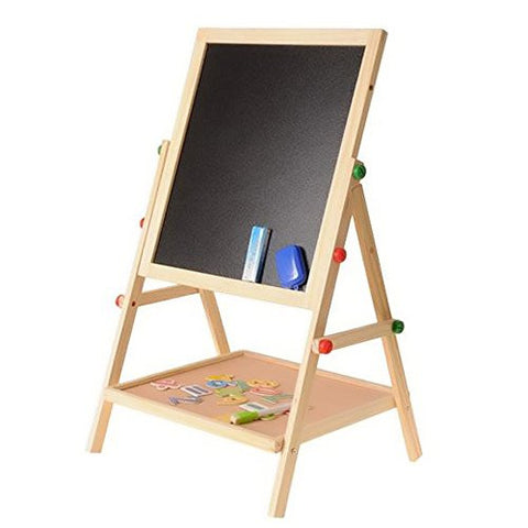 2 in 1 Adjustable Kids Black / White Wooden Learning Easel Drawing Board