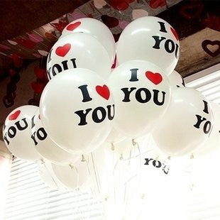 """I Love You"" 12 Inch Natural Latex Balloons for Party Decoration 50pcs/lot"