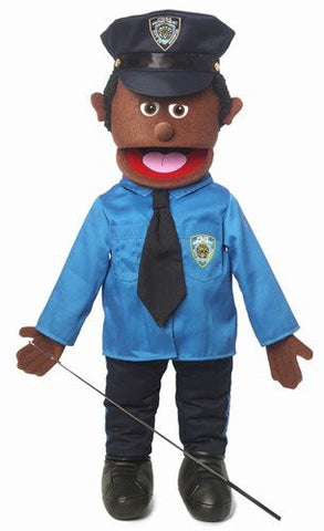 "25"" Policeman, Black Male, Full Body, Ventriloquist Style Puppet"