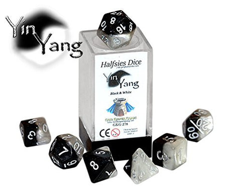 """Yin Yang"" Halfsies Dice - 7 die polyhedral rpg gaming dice set - Black & White"