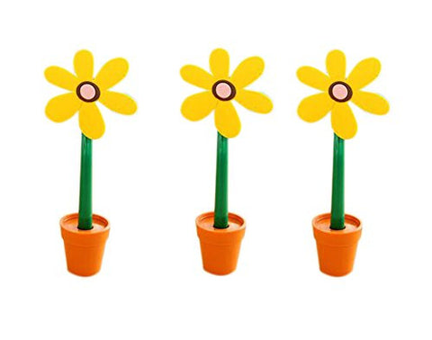 3 pcs Kids Ballpoint Pens Creative Sun Flower and Adorable Flower Pots Yellow