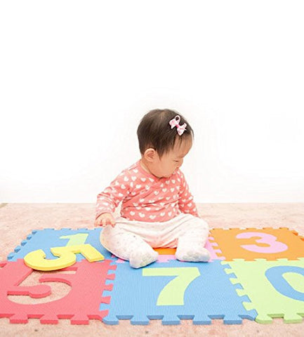 10 Piece Interlocking Numerical Foam Puzzle Mats, Numbers Range From 0 to 9