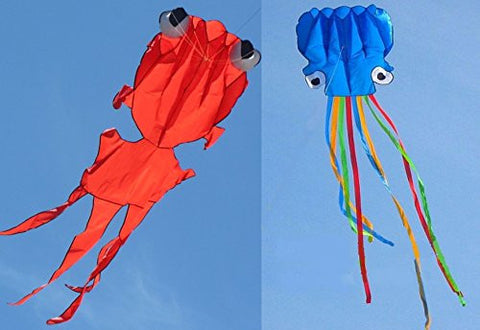 (2 Count) Amazona's Presentz Pack 5M Large Octopus Kite + 4M Goldfish Kite, with Handle & String