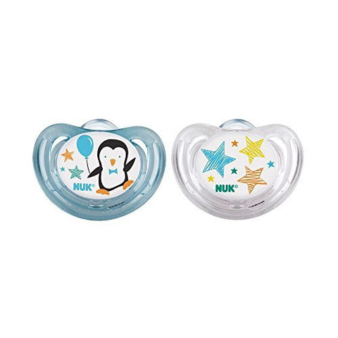 2 Nuk AIR FLOW Orthodontic Silicone Pacifiers NEW STYLE PENGUIN Boy 0-6 mo by NUK