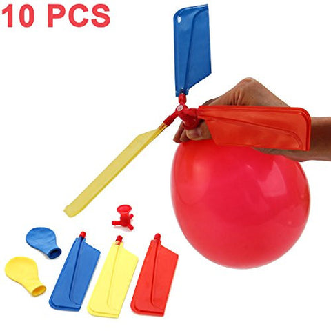 10 PCS Multicolor Traditional Classic Toys Balloon Helicopter Portable Flying Toy