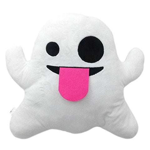 32cm Large Emoji Pillows Smiley Emoticon Soft Plush Stuffed Yellow Roundy Full Collection (USA SELLER) (GHOST)
