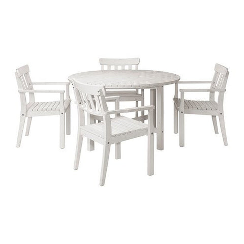 Ikea Table and 4 armchairs, outdoor, white stained white stained 162020.82617.2614