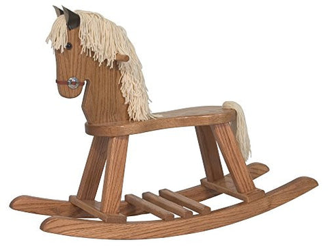 Amish Heirlooms Solid Oak Small Rocking Horse, Puritan Gray Finish