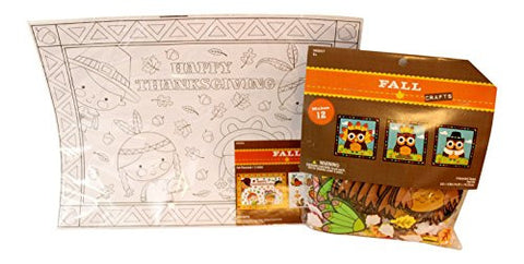 2 pc Thanksgiving Children's Color your Own Placemat and Thanksgiving Owl Craft Bundle for 6: Color Your Own Placemat ,4 count Crayola Crayons, Owl Craft Kit