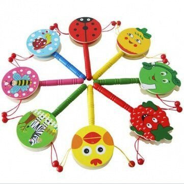 1 Toy Baby Shaking Rattle Cartoon Wooden Hand Bell Drum Kids Baby Toy Color:Random