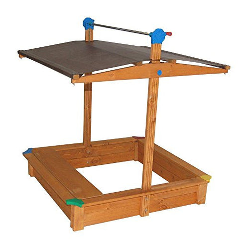 44 in. x 44 in. x 48 in., UV 50 Plus Stabilized Cover, Square Sandbox with Built in storage box or bench seat