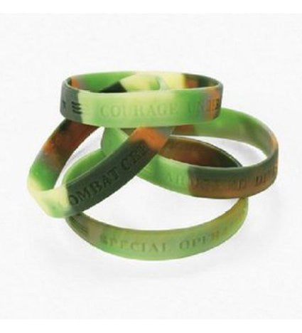 12 Silicone Camouflage Army Sayings Bracelets