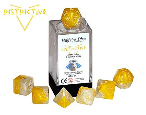 """Instinctive"" Halfsies Dice - 7 die polyhedral dice set - Spark Yellow & Intuitive White"