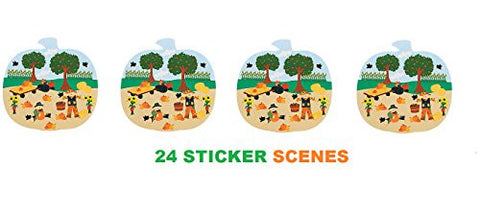 (24) THANKSGIVING Pumpkin Patch Sticker Scenes ~ Classroom Activity ~ Holiday Gathering Favors ~ Autumn Fall Fairs ~ School Church ~ 2 Dozen New