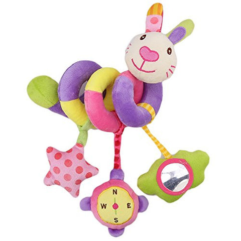 34x21x4.5cm Colorful Rabbit Baby Toddler Car Bed Stroller Hanging Musical Spiral Activity Dangle Toys