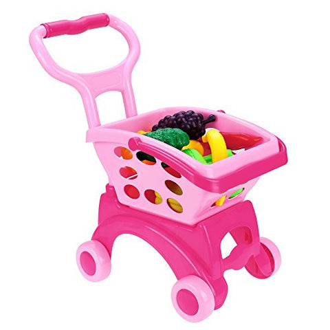 (US Stock) Arshiner Kids Shopping Trolley Toy with 14pcs Vegetable and Fruits Role Play Pink