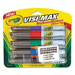 - Dry Erase Marker, Chisel Tip, Assorted Colors, 8/Set