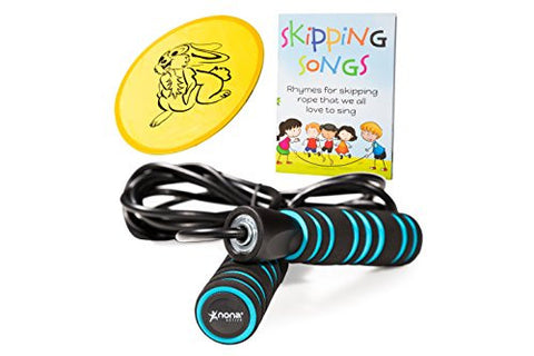 """Jumping Fever Set"": Tangle free, Easily Adjustable Rope with Non-Slip Handles for Kids and Adults Plus Skipping Songs Book, Flying Disc, and Storage Bag by Nona Active"