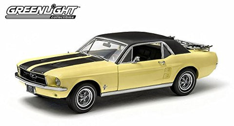 "#12925 Green Light 1967 Ford Mustang ""Ski Country Special"",Yellow 1/18 Scale Diecast"