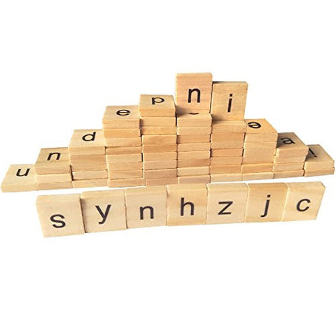 100 Wooden Alphabet Scrabble Tiles A-Z(All Letters Include)Low-Case Mixed Letters For Crafts