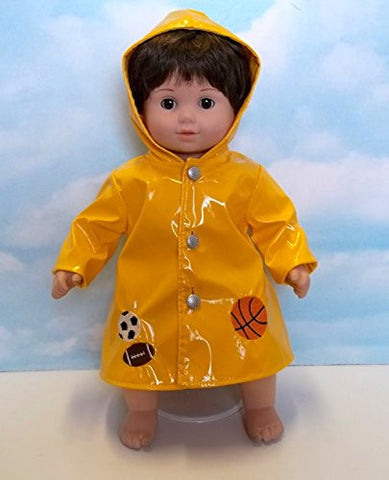 """Rain Delay"" Yellow Raincoat with Sports Accents. Fits 15"" Dolls like Bitty Baby and Bitty Twin"