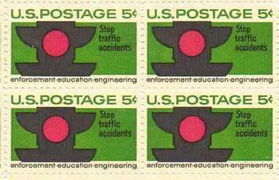 """Stop Traffic Accidents"" Set of 4 x 5 Cent US Postage Stamps NEW Scot 1272"
