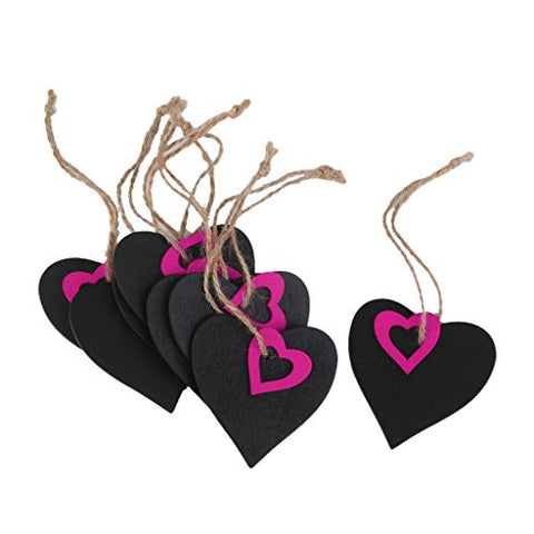 10pcs Mini Fuchsia Heart Chalkboard Tags with String