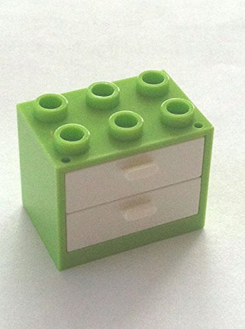 *NEW* 1 Leggo LIME GREEN Container CUPBOARD 2x3x2 with WHITE DRAWERS